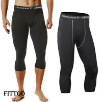 Men's Compression 3/4 Capri Pants Baselayer Cool Dry Sports Run Yoga Tights X587