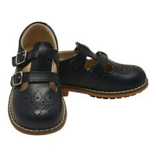 L`Amour Unisex Navy Double T-Strap Buckled Leather Mary Jane Shoes 12 Kids
