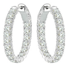 5 Carat G-H Diamond Hoop Huggies Eternity In And Out 14K White Gold Earring
