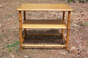 Vintage Mid Century Heywood Wakefield Ashcraft Maple & Rattan Side Table