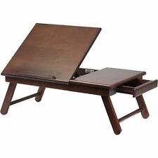 Folding Tray Table Lap Desk Laptop Notebook Wood Drawer Breakfast Bed Food