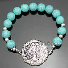 Catholic Saint St. Benedict Medal Nursia Cross Turquoise Bead Bracelet Bangle
