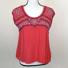 American Eagle Coral Embroidered Blouse Cutout Back Size Small