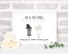 Personalised Wedding Wellies Print! Personalised Wedding Print Gift! Welly Print