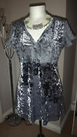 Per Una @ M&S Silver Crushed Velvet Evening Party Tunic Dress Size UK 10