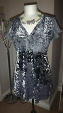 Gorgeous  Per Una SILVER Crushed Velvet Evening Party Cruise Dress 10 UK