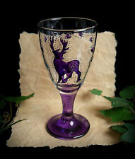 Hand Decorated Witches Glass Chalice with Stag  Wicca Pagan Altar Yule Gift