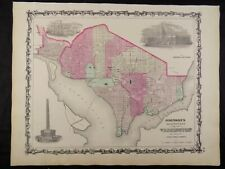 1863 CIVIL WAR MAP OF WASHINGTON D.C. JOHNSON'S  ATLAS, w/ C.O.A.,ORIGINAL VGC+