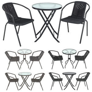 Garden Patio Table And Chair Set Conservatory Seat Black Brown Outdoor Furniture