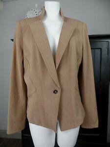 WHBM White House Black Market Womens 14 Camel Button Front Long Sleeve Blazer