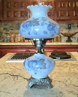 Double Burning Hurricane Lamp Blue Floral Hand Painted GWTW Lovely Vintage Decor