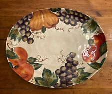 "Venetian 18"" Oval Stoneware Serving Platter Tabletops Unlimited Euc"