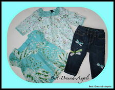 BABY GAP Rainforest Dragonfly Tops Cropped Embroidery Jeans Set Girls Sz 2/3 JL