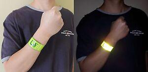 2X LW Reflective Wrist Arm Bands Slap Wraps Running Walking Biking Safety (Pair)
