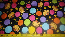"""Monkey Faces Colored Dots Toss Cotton Fabric 3.75 Yard L x 45""""W"""