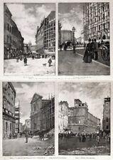 Stampa antica ROMA quattro vedute di Corso Vittorio Emanuele 1885 Old print Rome