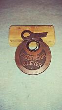 vintage corbin EXCELSIOR 6 lever push key pancake padlock w/key works good 2