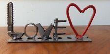 Metal Welded Scrap Art Love Tabletop Sign