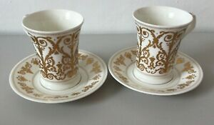Set of 2 Dunoon Cellini China Cups & Saucers Duo White and Gold #5829