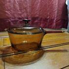 Corning Ware Visions Amber Glass Cookware 2.5L Sauce Pot Pan with Lid USA