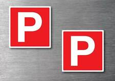 Red P Plate x 2 stickers STREET LEGAL  quality 7 year vinyl water & fade proof