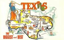 State map postcard Texas The Biggest and the Best chrome large letter