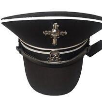 Cappello cotone Nero Militare con finitura bianca e teschi in metallo 59 cm