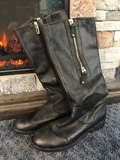 Ivanka Trump Womens Black Leather Riding Boots 7.5 Medium (B,M) Double Zippers