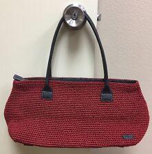 The Sak Elliott Lucca RED Crochet Braided Weave Doctor Tote Handbag Purse Bag !