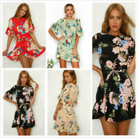 UK Womens Holiday Print Ruffle Beach Mini V Summer Floral Ladies Dress  Fashion