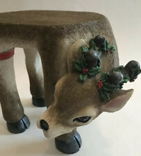 Flower Poinsettia Stand Christmas Resin Reindeer Figure