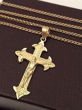 Religious 10k yellow Gold Jesus Cross Pendant Charm 14k Gold Box chain 20 INcH