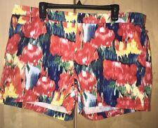 Merona Chino Shorts Multi Color  Print Shorts Zipper Sz 16 x 5 Color Splash NWT