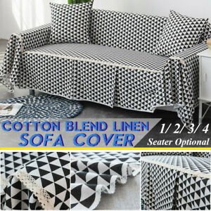 1/2/3/4 Seater Sofa Cover Slipcover Cotton Blend Soft Furniture Protector