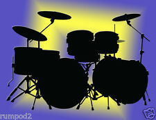 Drums/Band/Music Poster/Print 17x22 inch/Drum Set Silhouette/Musical Instruments