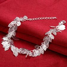 925Sterling Silver Many Smart Hollow Leaves Women Link Chain Bracelet GH407