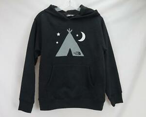 The North Face Tent & Moon Print Hoodie Sweatshirt Black Youth Boy's Medium