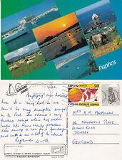 1992 MULTI VIEWS OF PAPHOS CYPRUS COLOUR POSTCARD