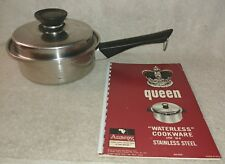 Amway Queen Booklet + 1 Quart QT Stainless Pot Pan Cookware 3-PLY 18/8 + Lid USA