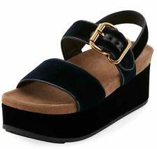 PRADA 40MM Velvet Double-Band Platform Sandal Size 39.5 EU, US 9.5 Blue 1XX659