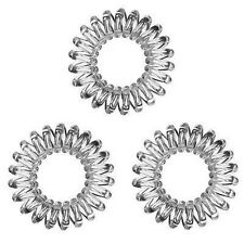 3x Invisible Hair Rings, Spiral Plastic Coils, Wires - Clear Colour - Traceless