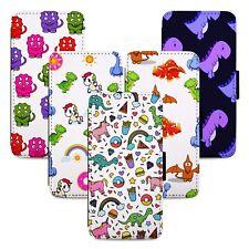 Dinosaur Unicorn Pattern Flip Phone Case Cover Wallet - Fits Iphone 5 6 7 8 X 11