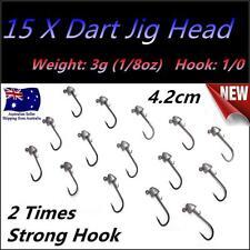 15X 3g (1/8 oz) Hook size 1/0 Like Fishing Dart Jig Head Chemically Sharpened