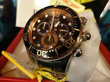 Invicta Men's 14202 Lupah 18K Rose Gold Plate Chrono Black Dial S/S Watch NEW!!