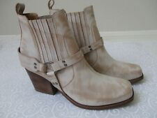 DIEGO DI LUCCA PENELOPE BONE NATURAL LEATHER ANKLE BOOTS SIZE 11M - NEW