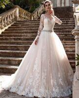 Blush Pink Bridal Ball Gown Wedding Dresses Long Sleeves Beading Belt Plus Size