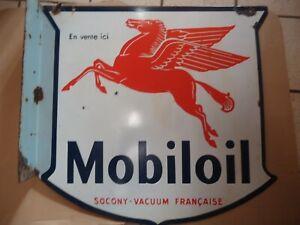MOBILOIL PLAQUE DOUBLE EMAILLEE PEGASE DE GARAGE Début XX