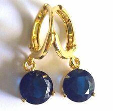 F08 Blue sapphire 7mm round 18k gold gf hoop dangle drop earrings BOXED PlumUK