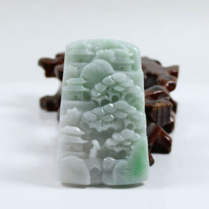 "Certified ""A"" Natural Emerald Green Jadeite Jade Gems Pendant Landscape 山水 j3635"