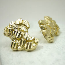 NEW Solid 14K Yellow Gold Extra Large Diamond Cut Mens Nugget Earrings 4.3 grams